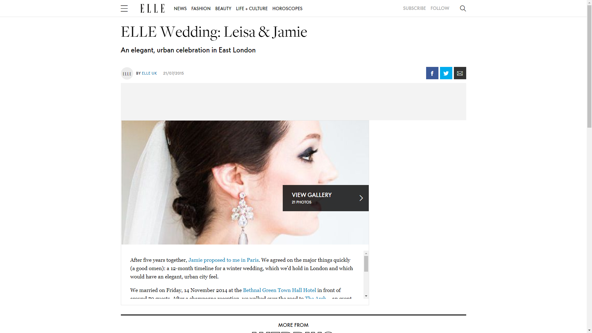 ELLE Wedding: Leisa & Jamie