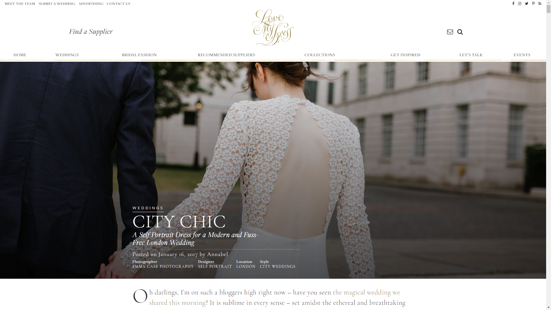 A Self Portrait Dress for a Modern and Fuss-Free London Wedding