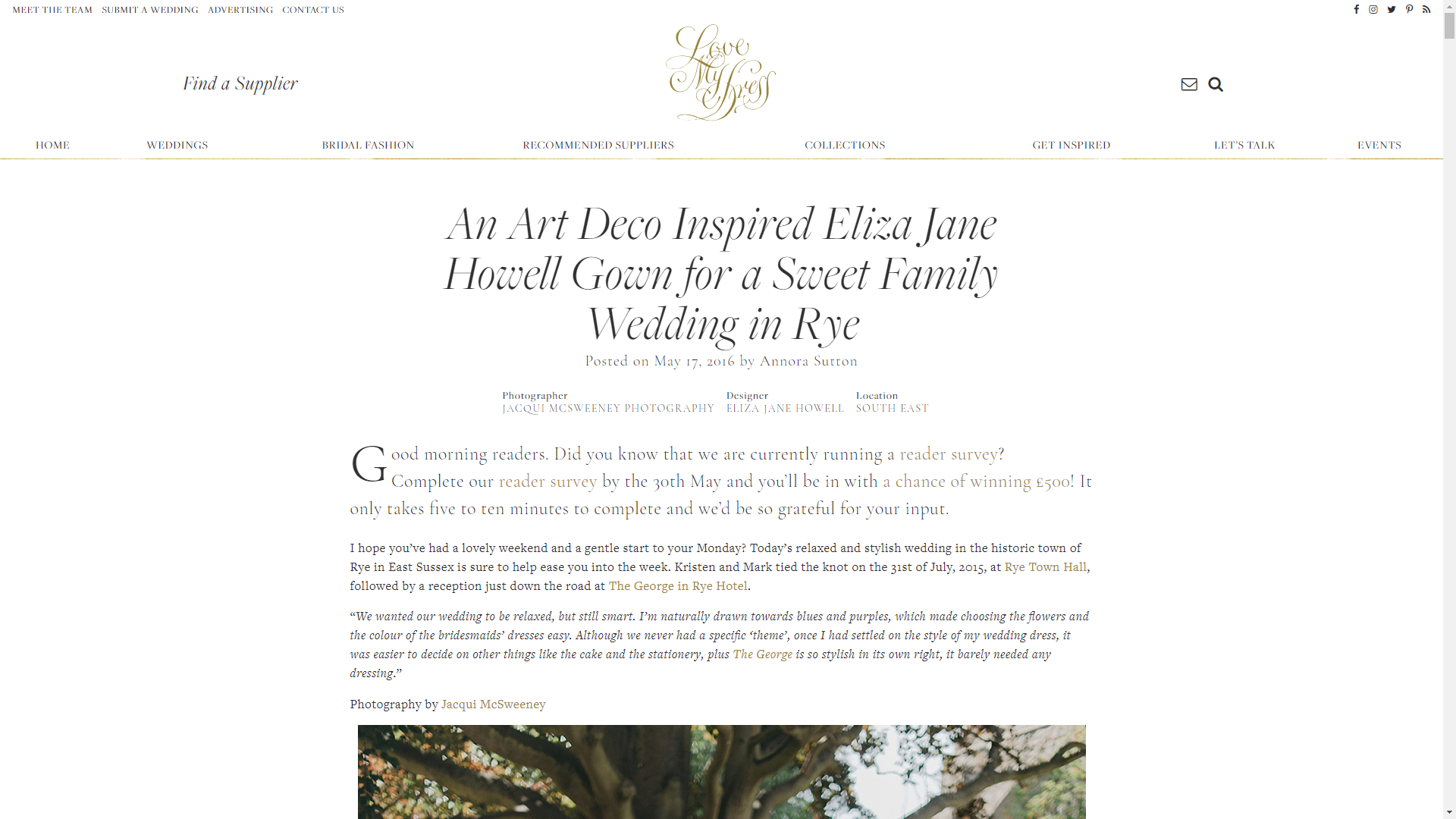 An Art Deco Inspired Eliza Jane Howell Gown for a Sweet Family Wedding in Rye