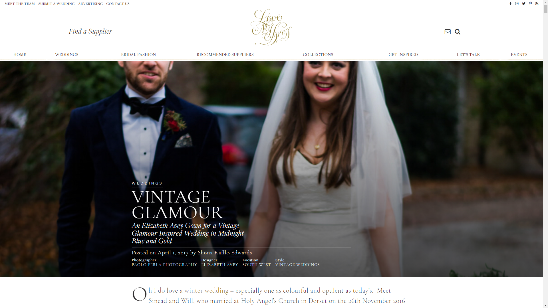 An Elizabeth Avey Gown for a Vintage Glamour Inspired Wedding in Midnight Blue and Gold