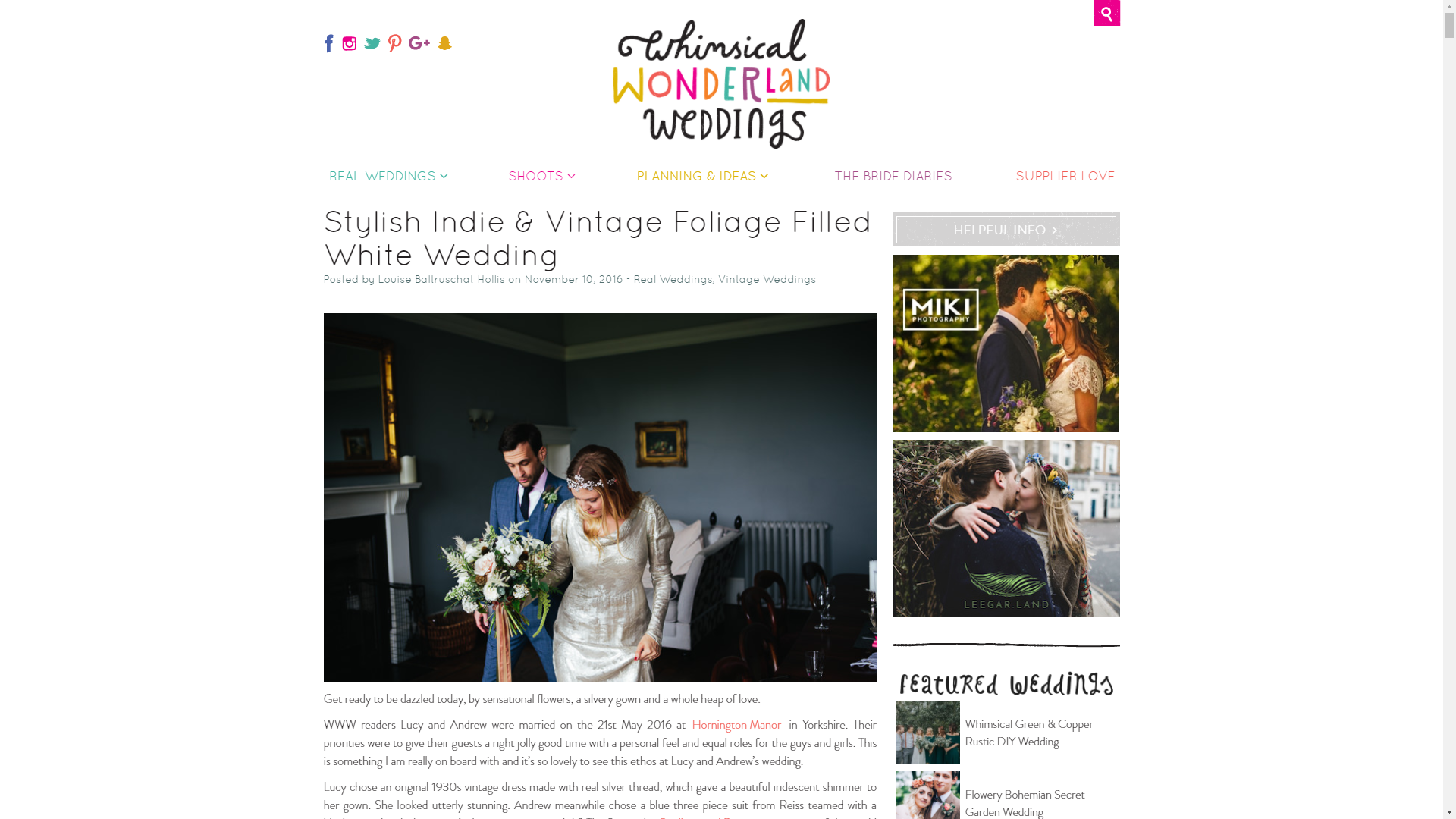 Stylish Indie & Vintage Foliage Filled White Wedding